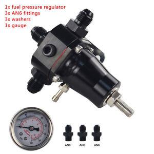 -XNUniversal Stainless Steel Fuel Pressure Regulator+Gauge+AN6 Fitting 30-70 PSI