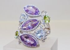 GENUINE 7.86cts Topaz, Amethyst & Peridot Ring Solid Sterling Silver 925!