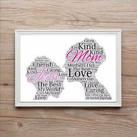 Stunning Personalised Mothers Day Mum & Daughter Family Word Art Print Gift Mom