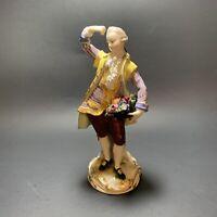 Antique Meissen Porcelain Figurine Man Flowers