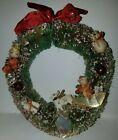 Vintage Christmas Bottle Brush Decorated Wreath