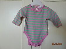 NEW LOOK BABY GIRLS PINK/GREEN STRIPED LONG SLEEVED BODY 100% COTTON FIRST SIZE