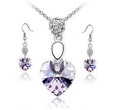 Conjunto Collar y Pendientes plateados con corazón Color Amatista, regalo mujer
