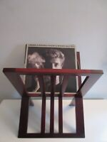 Vtg Midcentury Modern Cherrywood Collapsable X-Base Record LP Album Rack Stand