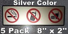 5 NO SMOKING NO FOOD NO CELL PHONE Window Door Warning Vinyl Sticker Decal