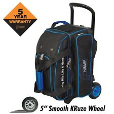Hammer Signature 2 Ball Deluxe Roller Bowling Bag BLACK/BLUE 5-Inch Wheels