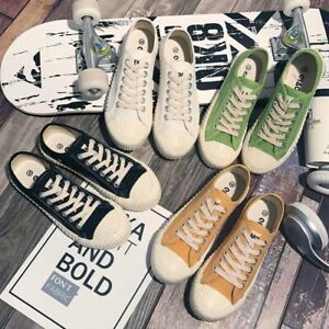 Women Canvas Shoes Lady Low Top Casual Classic Old School Lace Up Sneakers Flats