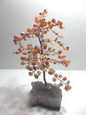 """Vintage Gemstone BONSAI Tree With AMETHYST Crystals CARNELIAN Quartz 10"""""""