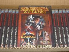 32pc CASE EVIL PUPPETS & DEMONIC DOLLS ATTACK DVD HORROR Triple Feature NEW