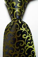 New Classic Paisley Black Gold Blue JACQUARD WOVEN Silk Men's Tie Necktie