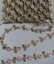 """9/16"""" Light Pink Roses Leaf Vintage Garland Trim-5 yards -T252KL"""