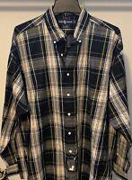 NEW Ralph Lauren Big Shirt SZ Large Plaid Button-Front Long Sleeves Blue Yellow