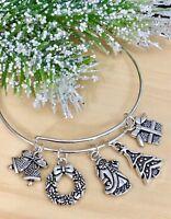 Christmas Tree & Santa~Holiday Silver charms Expandable Bangle Bracelet