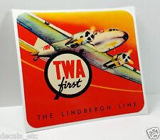 TWA The Lindbergh Line Vintage Style Decal / Vinyl Sticker, Luggage Label