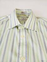 Peter Millar Striped Shirt Green Blue Black L - RARE Large 15.5 x 35
