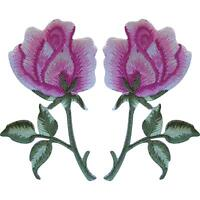 Pair of Pink Rose Patches Iron On Sew On Embroidered Roses Flowers Patch Badges