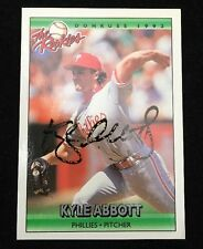 KYLE ABBOT 1992 LEAF ROOKIE Autograph Signed AUTO Baseball Card 1 PHILLIES