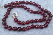 """Granato Collana di perline, 18"""", Semi Preziosi Perline, 7mm, Pietre Preziose, Sfaccettato, le donne"""