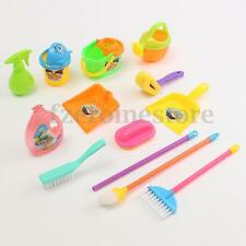 13Pcs Children Kids Play Pretend Cleaning Toy Set Mop Bucket Brush Dustpan Tools