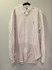 Ralph Lauren Classic Fit White Striped Red Navy Long Sleeve Oxford Shirt Small S