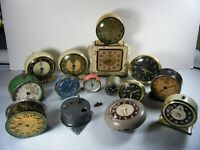 ANTIQUE & VINTAGE LOT OF 15 ALARM CLOCKS PARTS/REPAIR JUPITER INGRAHAM ARTCO ETC