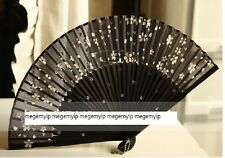 Japanese Fold Hand Clear Flower Rose Bamboo Pocket Fan Transparent Black White