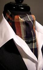 NEW Modern Day Silk Ascot Cravat Tie Brown / Navy Tartan Plaid