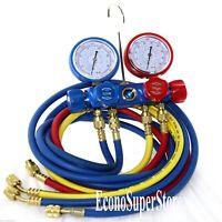 4 valve R410a Mini Split R134a Auto AC Refrigerant Diagnostic Manifold Gauge Set