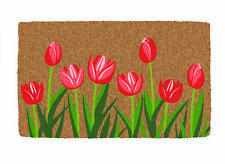 "Outdoor Printed Tulip Flower Coir Doormat  18"" x 30"""