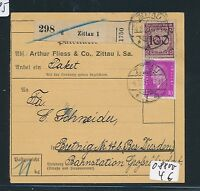 05185) DR Paketkarte, Korbdeckel 100PF MiF ab Zittau 1 1931