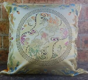 "Stunning Oriental (dragon) Theme Cushion Cover 17"" x 17"" Handmade in Nepal"
