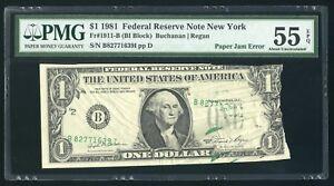 $1 1981 Federal Reserve Note Fr.1911-B, PAPER JAM ERROR