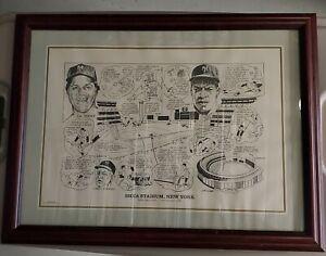 1990 Sporting News Amadee NY Mets Shea Stadium Tom Seaver Gooden Framed Litho