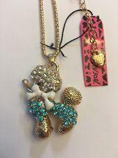 Betsey Johnson Lovely Blue Crystal Bowknot Poodle Dog Necklace-BJ29082