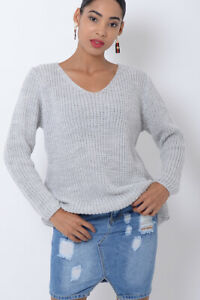 Womens Knitted Jumper Light Grey Ladies Long Sleeve Winter Warm Sweater Blouse