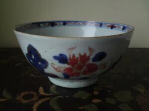 Antique 18th C Chinese Imari Kangxi Porcelain Bowl garden rock peony flowers