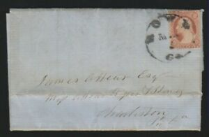 3c 1857 USA stamp used Rome GA 3/1/1861 after Georgia joined Confederate States