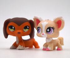 Littlest Pet Shop LPS Dachshund Dog #675#1892 Chihuahua Dog Toy Cream Girl 2pcs