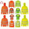 Hi Viz Vis High Visibility Hoddie Polo Shirt Reflective Safety Work Zip Fleece
