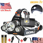 BORUiT 15000 Lumen Rechargeable Headlamp XM-L 3x T6 LED Headlight 18650 Battery