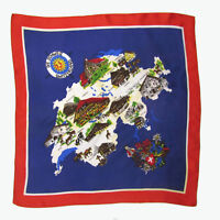 Vintage 60s 70s SWITZERLAND SOUVENIR MAP SCARF Swiss Chalet Blue Red DIE SCHWEIZ