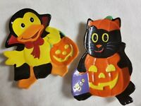 2 Halloween Candy Dishes Bowl Duck Black Cat Pumpkin Jack-o-Lantern Dish