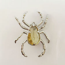 New Yellow Golden Crystals Spider Animal Pet Brooch Pin Scarf Accessories BR1375