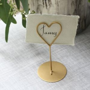 8 x Gold Heart Place Card Holders - Weddings / Parties