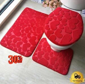 3Pcs/Set Bathroom Bath Mat Set Floor Toilet Seat Cover Bath Mats Home Decoration