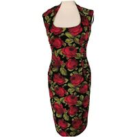 Phase Eight Size 12 Black Red Rose Floral Fitted Wiggle Ruched Dress Party