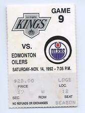 Jari Kurri, Paul Coffey goal ticket stub; Edmonton Oilers at Kings 11/14/1992