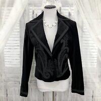 Reba Womens Size 8 Black Faux Velvet Jacket Western Blazer Funeral One Button D7