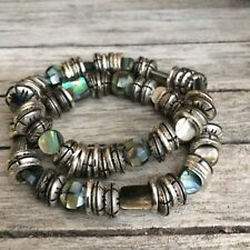 Abalone Shell and Metal Bracelets Pair Stretch Set of Two (2) One Size