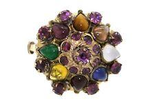 Vintage 10k yellow gold 4.0ct rainbow gemstone Thai princess cluster ring size 7